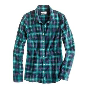 J. CREW perfect shirt in black watch plaid flannel